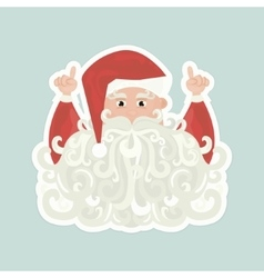 Santa Claus with curly beard pointing up isolated vector image