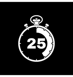 The 25 seconds minutes stopwatch icon clock and vector