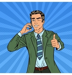 Pop art businessman talking on the phone vector