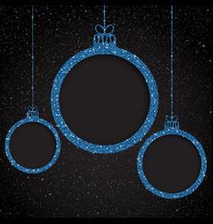 blue sequin frame star sky christmas ball vector image
