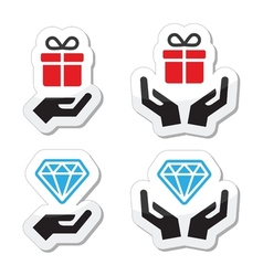 Hands with present and diamond icons set vector image