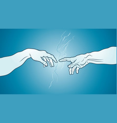 The creation of adam fragment azure cerulean vector
