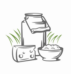 Milk cans with grass vector