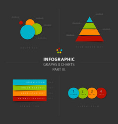 set of flat design infographic charts and graphs 3 vector image