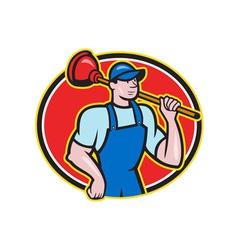 Plumber Holding Plunger Cartoon vector image