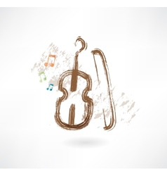 Violin with a bow grunge icon vector