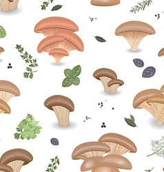 Seamless texture with edible mushroom oysters and vector