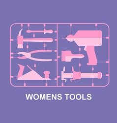 Pink tools set for women plastic model kits for vector