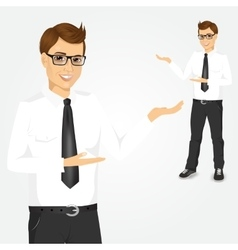 Modern young businessman showing something vector
