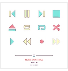 Music controls line icons set vector