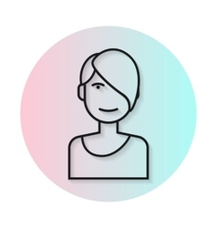 Flat icon hairstyle asymmetrical haircut vector
