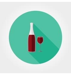 Wine bottle and wine glass icon vector