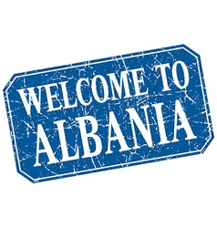 Welcome to albania blue square grunge stamp vector