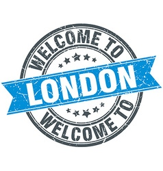welcome to London blue round vintage stamp vector image
