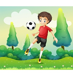 A boy with a red shirt kicking a soccer ball vector image vector image