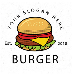 Burger est 2018 white background image vector