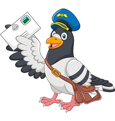 Cartoon funny pigeon delivering letter isolated vector