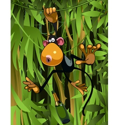 cartoon monkey hanging on liana vector image vector image