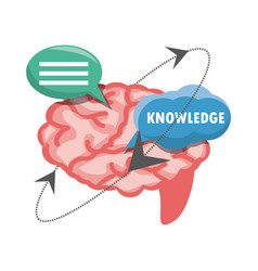 Chat bubbles with brain knowledge vector