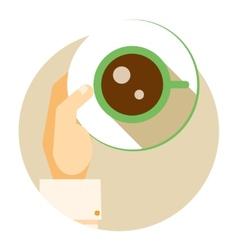 Coffee cup circular icon vector
