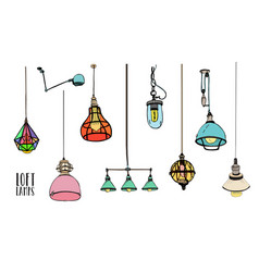 Collection of different colored loft lamps or vector