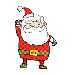 Comic cartoon santa claus punching air vector