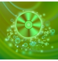 Compact disc isolated on green waves vector