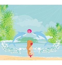 dolphins playing ball in the sea vector image vector image