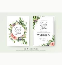 Elegant floral wedding invitation card design vector