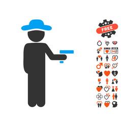 Gentleman robber icon with lovely bonus vector