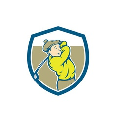 Golfer swinging club shield cartoon vector