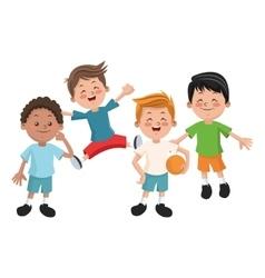 Group of happy boys cartoon kids vector