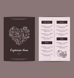 handdrawn heart shaped fruits and vector image vector image