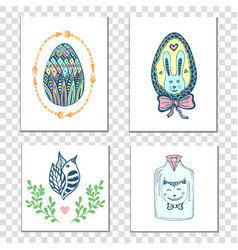 Happy easter cards with hand drawn eggs and cute vector