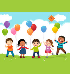 happy kids jumping together and holding balloons vector image