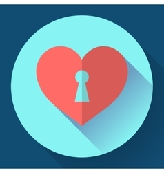 Heart with keyhole icon vector