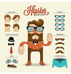 Hipster character with hipster elements and vector image vector image