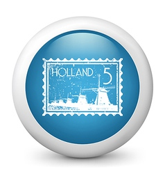 Holland Postage glossy icon vector image vector image