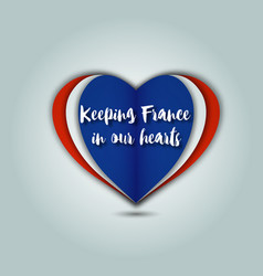 keeping france in our hearts emblem vector image