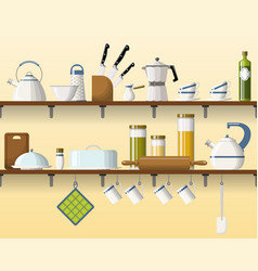 Kitchen shelving with tableware seamless part 3 vector