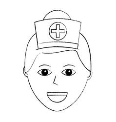 Nurse face with cap cross uniform medical vector