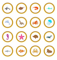 Ocean inhabitants icons circle vector