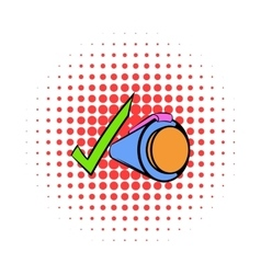 Pen and green checkmark icon comics style vector