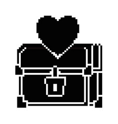 pixelated treasure chest with heart vector image