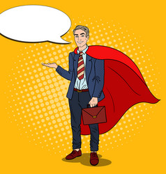 Pop art smiling super businessman in red cape vector