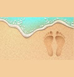 Realistic human footprint on sea beach sand vector