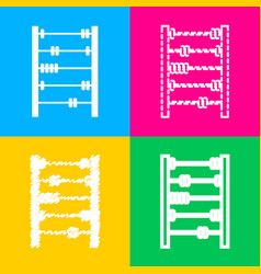 retro abacus sign four styles of icon on four vector image