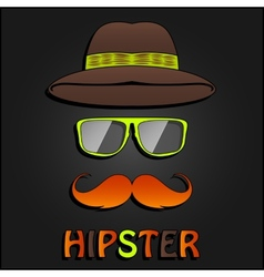 Retro hipster mustache glasses and hat poster vector image
