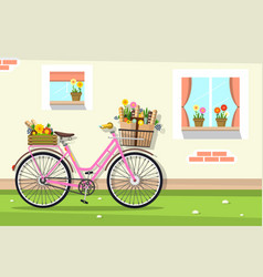 Retro pink bicycle with house wall and windows vector