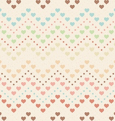 Retro seamless pattern color hearts and dots on vector